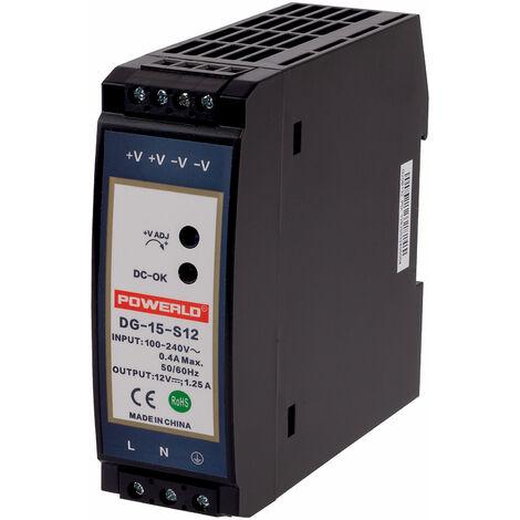 TT Electronics DG-15-S12 DIN Rail Non-PFC Power Supply 12V DC 1.25A 15W, 1 Phase