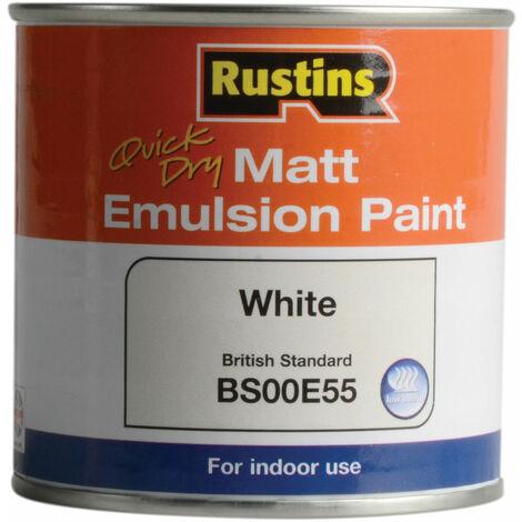 Rustins MEMLW250 Quick Dry Matt Emulsion Paint White 250ml