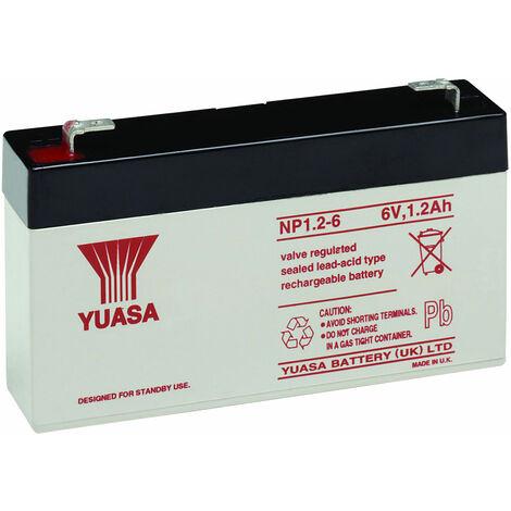 Yuasa NP Series NP1.2-6 Valve Regulated Lead-Acid Battery SLA 6V 1.2Ah
