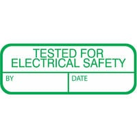Tested For Electrical Safety Labels, Green Mark & Seal, 40 x 15mm, Pack Of 120