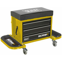 Sealey SCR18Y Mechanic's Utility Seat & Toolbox - Yellow