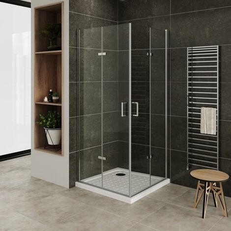 Moments of Glass Mampara de Ducha con plato de ducha DK11 de Vidrio transparente de seguridad de 6mm, con altura: 190 cm – 90x90 cm