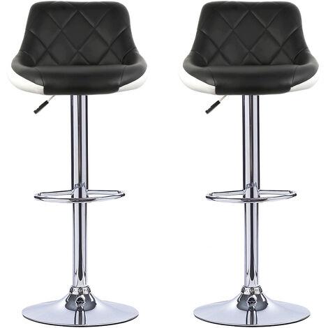 Pack 2 Taburete de bar cocina alto fijo giratorio ajustable respaldo Blanco y negro