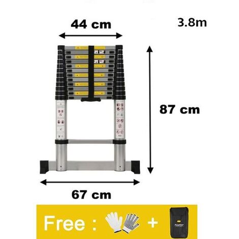 Escalera Telescópica, Escalera Plegable, 3,8 Metro(s), Carga máxima: 150 kg - para onstructor de interiores al aire libre Uso Escalera tele