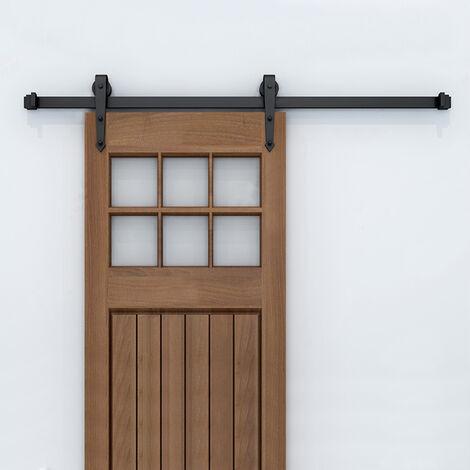 200cm Kit Instalación Montaje Puerta Corredera  Kit para Puerta Deslizante Puerta Corrediza Interior Riel Acero  200cm