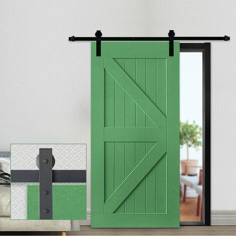 244cm Puertas Kit de Accesorios para Puerta Correderas de Granero Puerta Montaje Juego de Piezas de Metal Rieles Rodillo Acero de Carbono