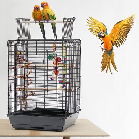Jaula para Pájaros para canarios, jaula para loros, jaula para pájaros   40x40x58cm Jaula con Techo Abierto con Soportes