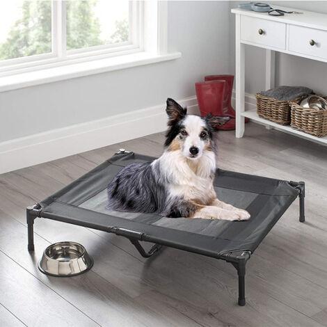 Cama Elevada para Mascota Cama Perro para Dormir Viajar Exterior Transpirable y Desmontable Negro