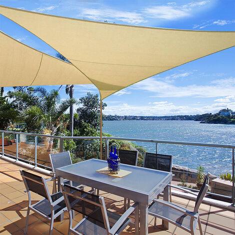 Toldo Vela de Sombra Triangular 4x4x4m Protección Rayos UV Solar Protección HDPE Transpirable Aislamiento para Patio, Exteriores, Jardín