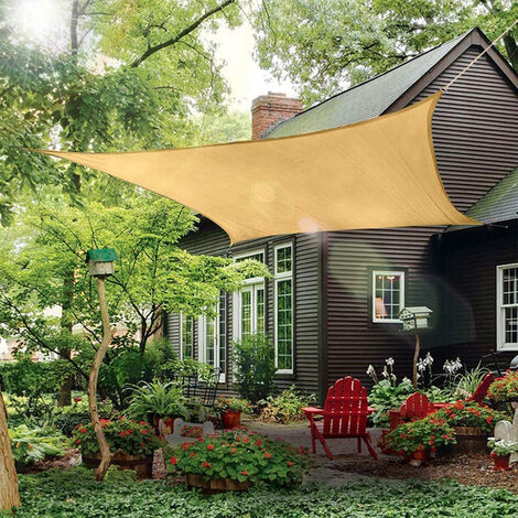 Toldo Vela de Sombra Cuadrado 3.6x3.6x3.6m Protección Rayos UV Solar Protección HDPE Transpirable Aislamiento para Patio, Exteriores, Jardín
