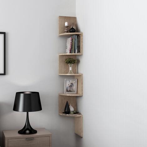OOBEST® Estantería para Esquina,Estantería Esquinera,estante colgante estante de pared estante para Cocina, Dormitorio, Sala de Estar20x20x120cm