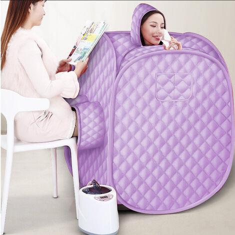 2,5L  Sauna de vapor móvil  para 2 personas sauna de vapor con asiento de sauna con generador de vapor 1000W morado claro