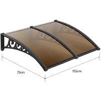 75x155cm Marquesina para puerta Toldo para terrazas | Toldo Ventana| - para blanca Lluvia Nieve Cubierta frontal Porche Exterior Sombra Techo Terraza marrón