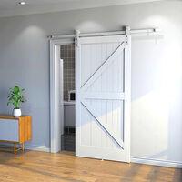 Kit Instalación Montaje Puerta Corredera Kit para Puerta Deslizante Puerta Corrediza Interior Riel Acero 200cm blanco
