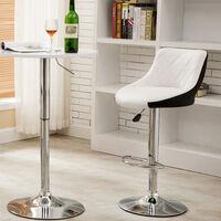 OOBEST® Pack 2 taburetes de bar cocina alto fijo giratorio ajustable respaldo piel sintética Blanco+negro