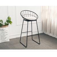 Pack 2 Taburete de bar cocina silla de comedor con respaldo cuero sintético blanco acolchado para casa