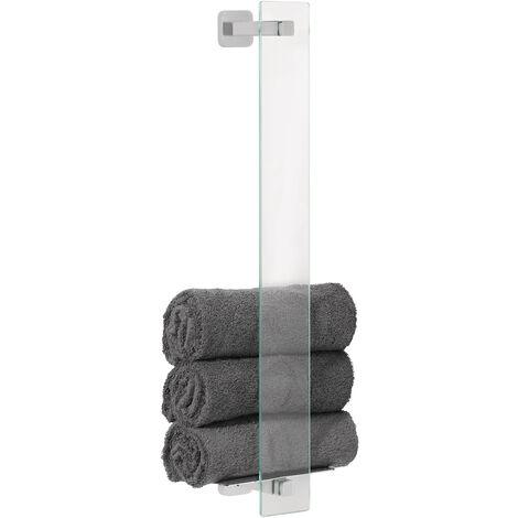 tesa Esteetic Porte-serviettes invités, sans perçage, adhésif, inoxydable, 66,8cm x 18cm x 12,8cm