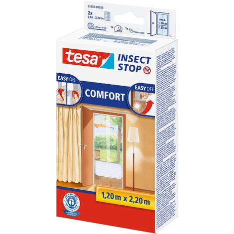 tesa® Insect Stop Auto-agrippant pour portes, Moustiquaire - système Easy-on/Easy-off, amovible et réutilisable, lavable, blanc, 120 cm x 220 cm
