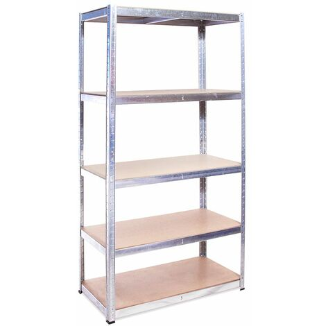 180 x 90 x 40cm Galvanised 5 Tier Boltless Shelving Unit (175kg Load Weight Per Tier)