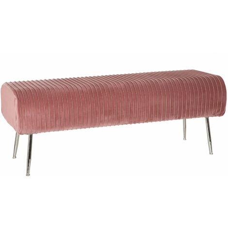 Baul Almacenaje Banco. Taburete Acolchado Terciopelo Banqueta Pie de Cama Dormitorio. PU. Calidad Diseño. 129 x 45,5 x 42 cm. Color Rosa