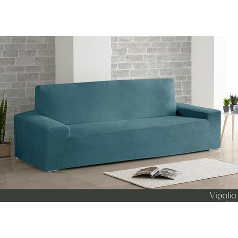 Funda de Sofa Bielastica Adaptable Terciopelo. Protector Cubre Sofa Velvet. Azul 3 Plazas(175-225cm)
