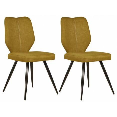 Lot de 2 chaises de table MIKE Jaune moutarde - Jaune moutarde
