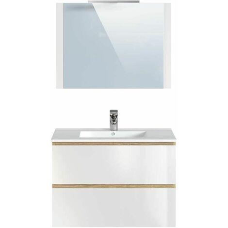 Ensemble de salle de bain 80 cm LUANA avec colonne Marron - Marron