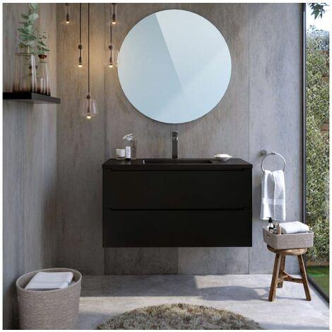 Meuble de salle de bain 100 cm IKON   Noir - Noir