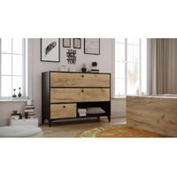 Commode 3 tiroirs MIAMI chêne et rustique et noir - Noir
