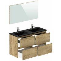 Ensemble de salle de bain KALEO 120 cm et colonne couleur bois - Marron