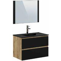 Ensemble de salle de bain 80 cm AKELA avec colonne chêne et noir - Marron