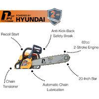 "Petrol Chainsaw 62cc Hyundai Engine 20"" Bar Easy Start Includes 2 Chains and Bag | P6220C"