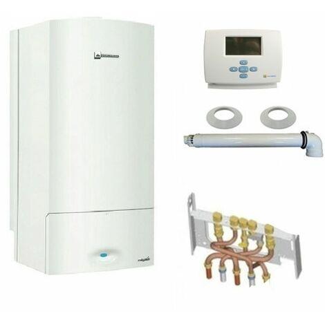 Chaudière gaz murale condensation Megali condens E.L.M Leblanc 21kW Complète (Ventouse + Douilles + Dosseret) avec Thermostat Filaire