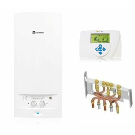 Chaudière Gaz BasNox Acleis Elm Leblanc 24 kW / Cheminée Complète (Douilles + Dosseret) avec Thermostat Filaire