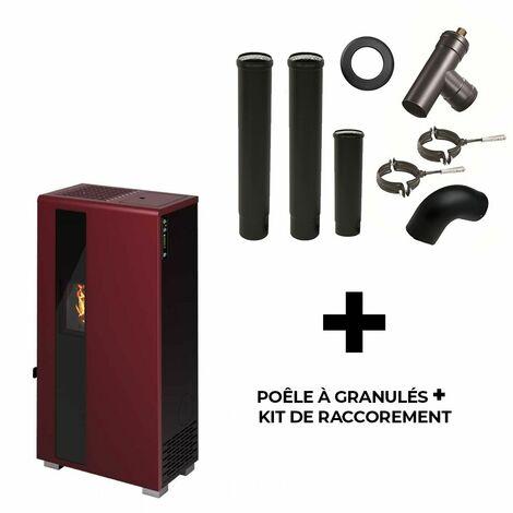 Poêle à granulés air Carla 5.5 kW Sannover Bordeaux + Kit Raccordement Fumisterie