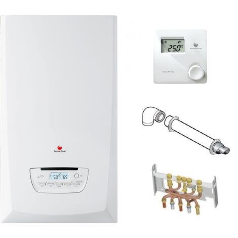Chaudière Gaz Condensation ThemaPlus Condens Saunier Duval 25 kW Complète (Ventouse + Douilles + Dosseret) avec Thermostat Filaire