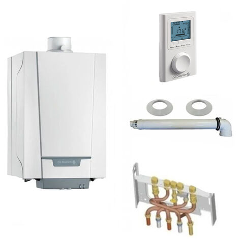 Chaudière Gaz Condensation Naneo PMCS De Dietrich 24 kW Complète (Ventouse + Douilles + Dosseret) avec Thermostat Filaire