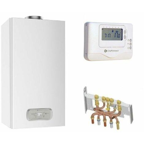 Chaudière Gaz BasNox Inoa Nox Chaffoteaux 25 kW / Cheminée Complète (Douilles + Dosseret) avec Thermostat Filaire