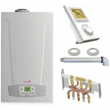 Chaudière Gaz Condensation Initia + Max Chappée 25 kW Complète (Ventouse + Douilles + Dosseret) avec Thermostat Filaire