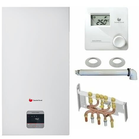 Chaudière Gaz Condensation Isotwin Condens Saunier Duval 25 kW Complète (Ventouse + Douilles + Dosseret) avec Thermostat Filaire