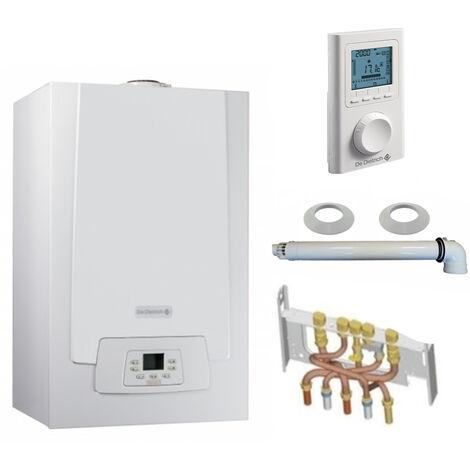 Chaudière Gaz Condensation MPX MI Slim De Dietrich 29 kW Complète (DOSSERET + DOUILLES + VENTOUSE) avec thermostat filaire
