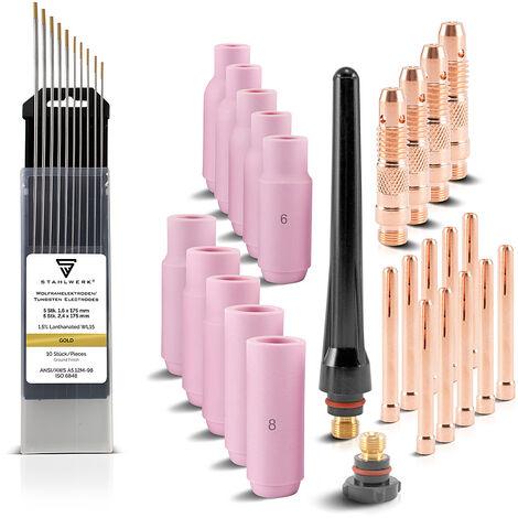Accessoires de soudage STAHLWERK WP SR Binzel 17 18 26 WIG Pièces d'usure : douilles de serrage + boîtier + buses en céramique + électrodes en tungstène, lot de 36 pièces
