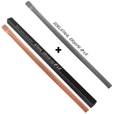 Jeu de baguettes à souder STAHLWERK ER70S-G3 acier & ER307Si acier inoxydable fortement allié/Ø 1,6 x 500 mm/chacun 1 kg métal d'apport WIG, Boîte de rangement incluse