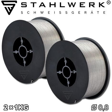 Fil fourré STAHLWERK MIG/MAG Ø 0,8 mm, fil de soudure FLUX E71T-1C, sur rouleau de 1 kg D100 avec mandrin de 16 mm, usage universel, jeu de 2
