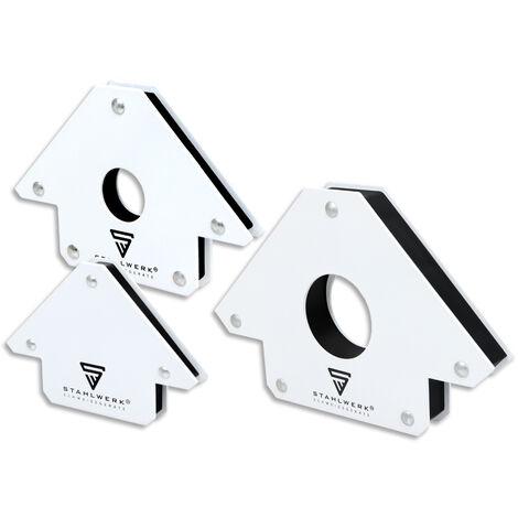 STAHLWERK Aimant magnétique pour soudure d'angle 45°x90°x135°, force de maintien de 25 lbs/11,3 kg & 50lbs/22,6 kg & 75 lbs/34 kg chacun, jeu de 3, blanc