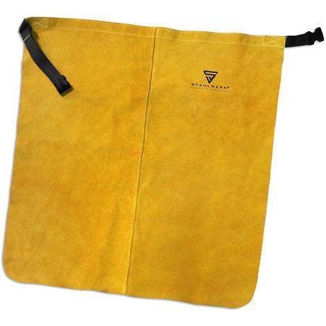 Tablier de soudage STAHLWERK, protection des jambes, protection contre les éclaboussures, protège-jambes en cuir véritable résistant à la chaleur et à l'usure, fabrication de haute qualité, bon ajustement