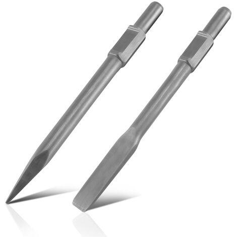 STAHLWERK jeu de ciseaux pour marteaux piqueurs ciseau pointu et ciseau plat, montage hexagonal, pour fouiller, percer, casser et enlever divers matériaux