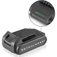 STAHLWERK batterie de rechange 20 V 2 Ah lithium-ion adaptée pour tous les outils de STAHLWERK tournevis sans fil perceuse visseuse meuleuse d'angle capacité 2000 mAh