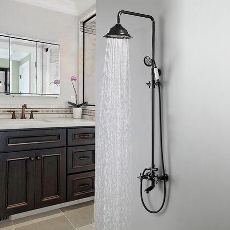 Columna de ducha Antiguo negro lluvia y ducha de mano y caño de baño