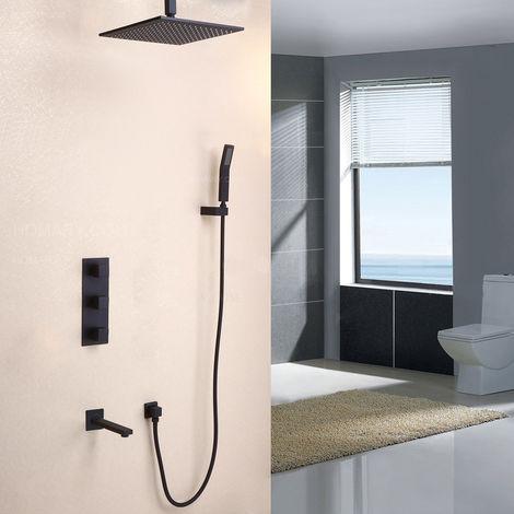 Set de ducha de mano termostático y caño de ducha de latón macizo con válvula de ducha estándar con soporte de pared 200 mm
